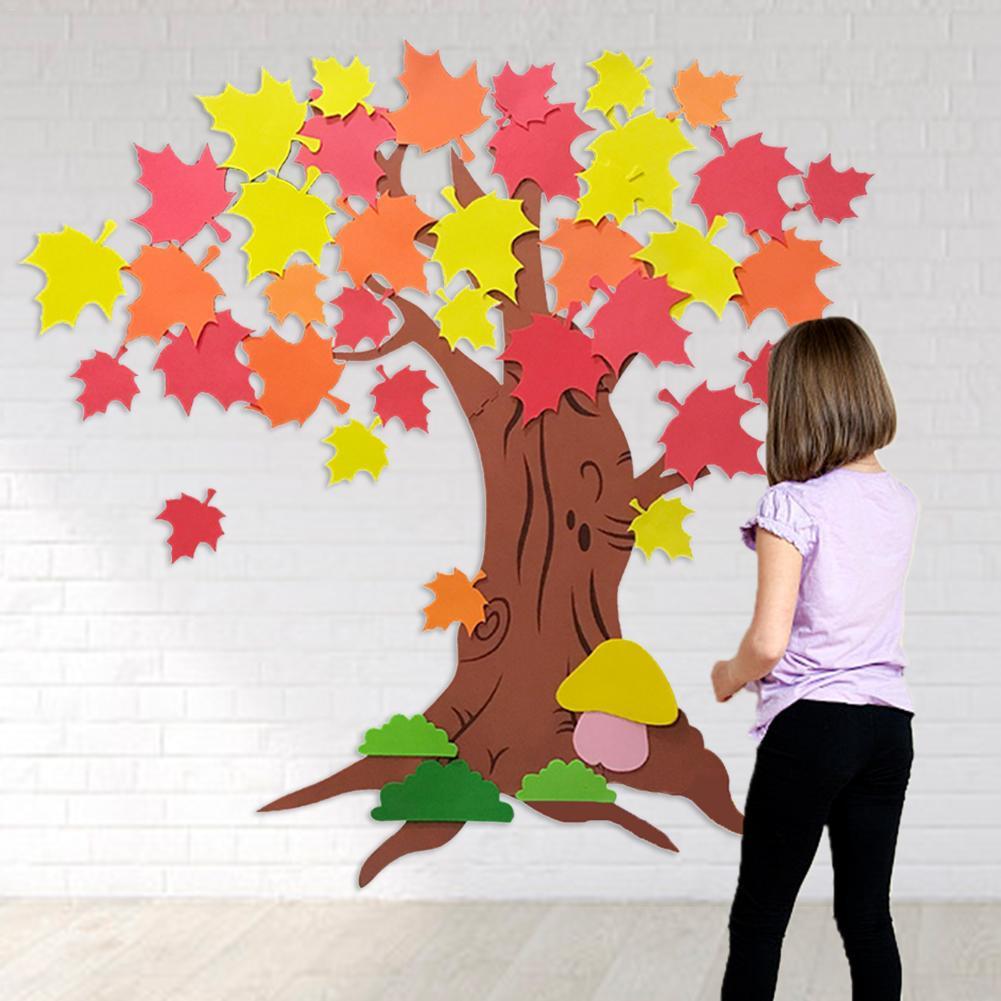 Thanksgiving Handwerk Baum Kit Ahorn Blätter Aufkleber DIY Bulletin Board Selbst Klebstoff Für Kinder Handwerk Aktivität Spielzeug Geschenke