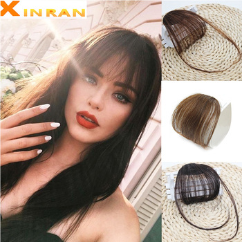 MERISIHAI Clip In Hair Bangs Hairpiece Synthetic Fake Piece Extensions Blunt on Black - discount item  30% OFF Synthetic Hair