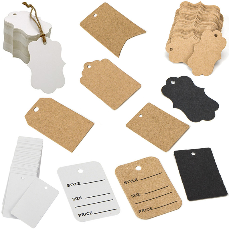 Kraft Paper Gift Tags DIY Pirce Tags Size Label With Jute Twine For Pricing Tagging Clothing Jewelry Shop Store Retail Onlie