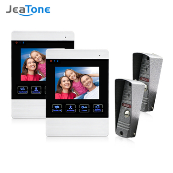Jeatone 4 Inch TFT Wired Smart Video Door Phone Intercom System with 2 Night Vision Monitor +2x1200TVL Rainproof Doorbell Camera tmezon 7 inch tft wired smart video door phone intercom system with 2 night vision monitor 2x1200tvl rainproof doorbell camera