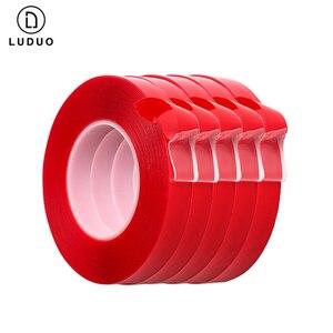 Image 2 - LUDUO pegatinas de doble cara para coche, cinta adhesiva de doble cara roja, acrílica transparente, sin huellas, para Exterior y fija, 3M