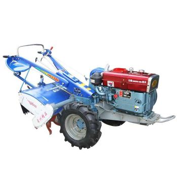 22HP diesel motor Small Two Wheel Walking Tractor Water Cooled Engine with Rotary tiller and flip plough walking tractor 15hp rotary tiller tractor single cylinder diesel engine agricultural small tractor