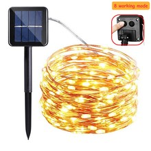 8 mode Christmas Solar String Light Waterproof 10M 33ft 100 LED Copper Silver Wire Fairy Lamp For Outdoor Garden Decor