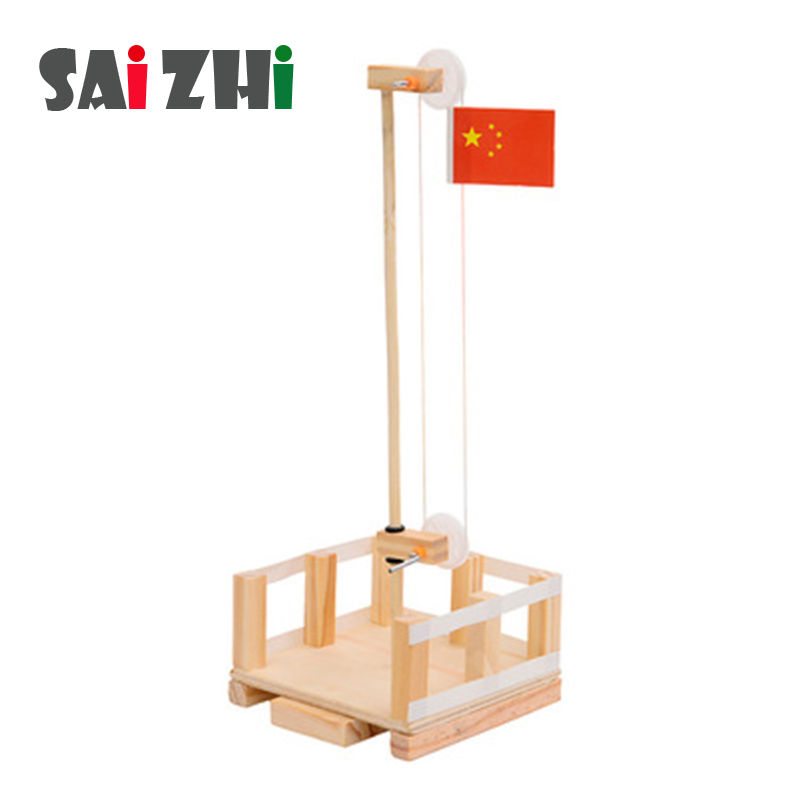 Saizhi Diy National Flag Lifts Developing Intellectual STEM Toy Science Experiment Kit Kids Lab Set Birthday Gift SZ3227