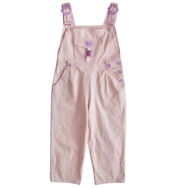 מורי ילדה חמוד דוב נשים סרבל Harajuku Kawaii רקמת בני נוער קרסול אורך סרבל ורוד מכנסיים בציר רופף מוצק Romper