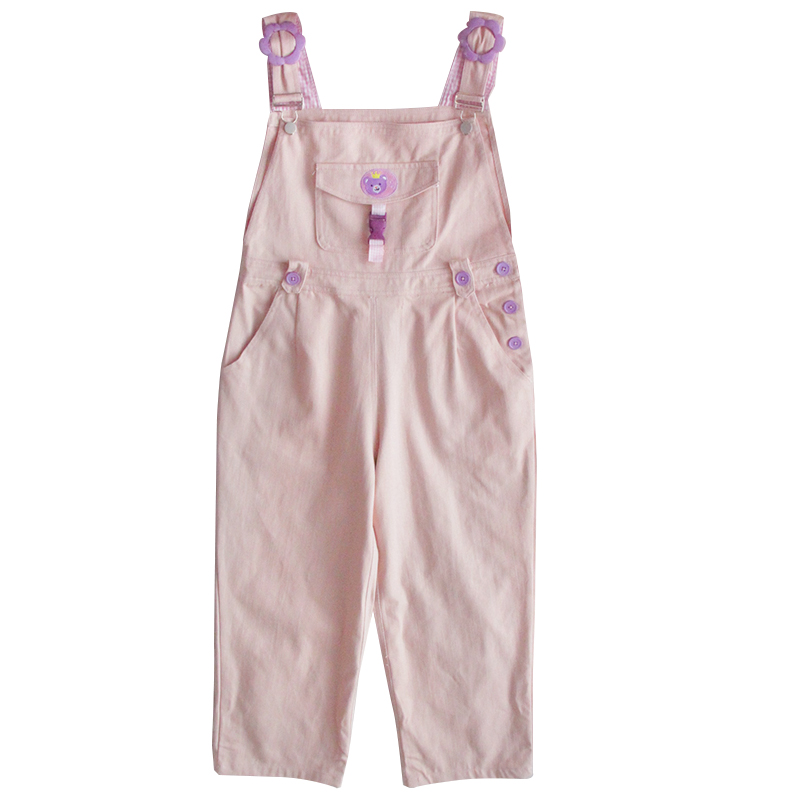 Mori Girl Cute Bear Women Jumpsuit Harajuku Kawaii Embroidery Teens Ankle-length Overalls Pink Pants Vintage Loose Solid Romper