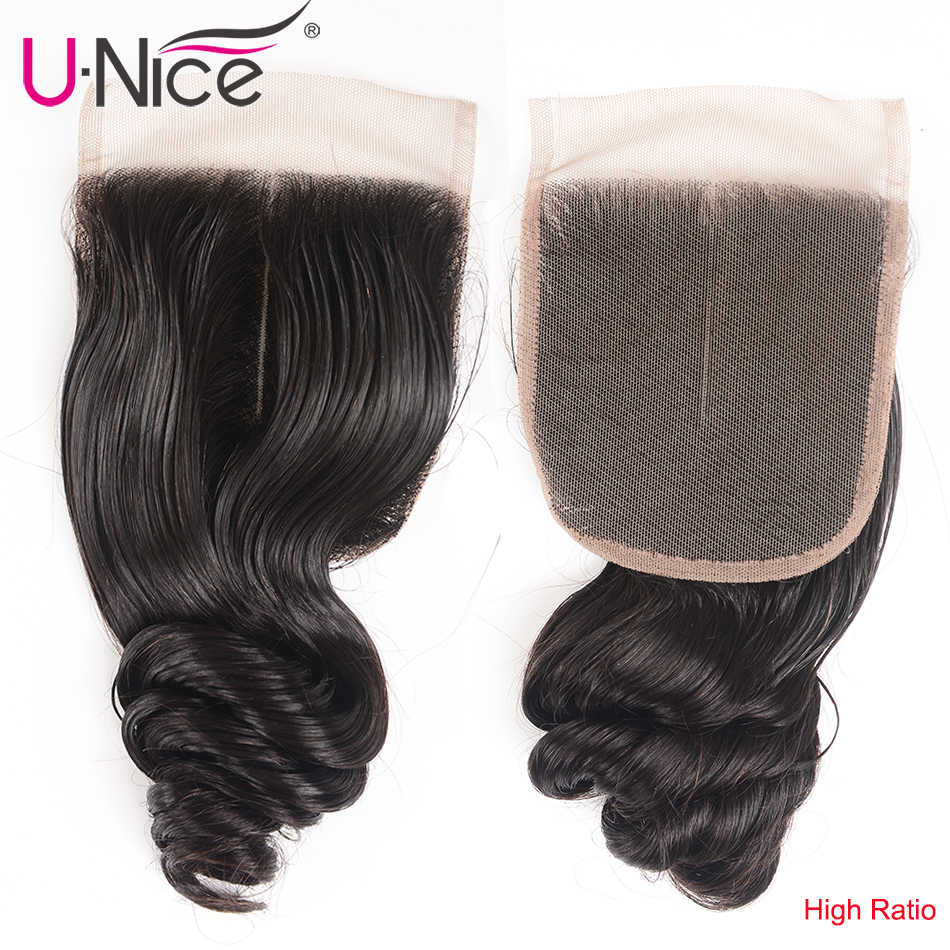"UNice Hair Kysiss  Series Brazilian Loose Wave Closure Swiss Lace Free Part Virgin Human Hair Lace Closure 1 Piece 14""-18"""