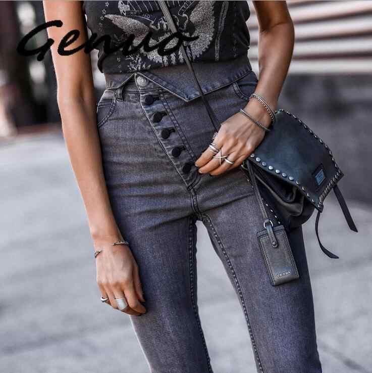 Genuo 2019, винтажные, повседневные, длинные, офисные, женские джинсы, тонкие, модные, Стрейчевые джинсы с высокой талией, обтягивающие, подтягивающие ягодицы, узкие брюки