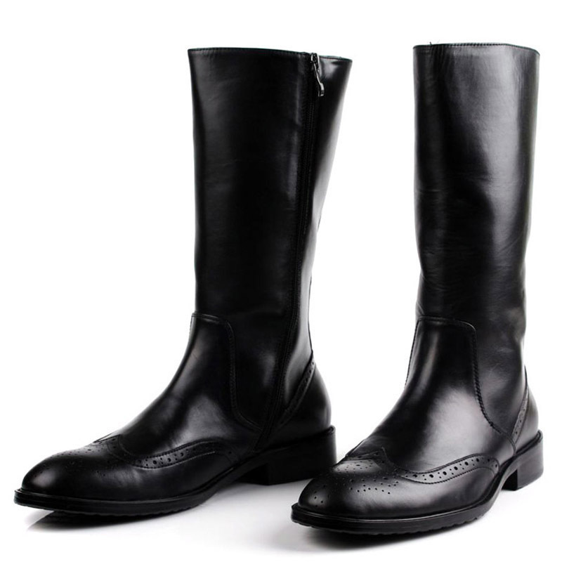 Italian Winter Mens Knee High Motorcycle Riding Boots Brogue Luxury Genuine Leather Military Boots Black Army Shoes Male
