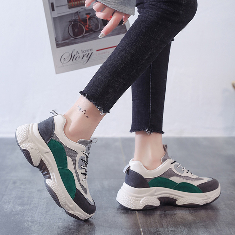 2020 Ins Sneakers Women Casual Shoes Thick Sole Height Increasing Shoes High Quality Brand Women Sneakers Mesh Shoes A2165