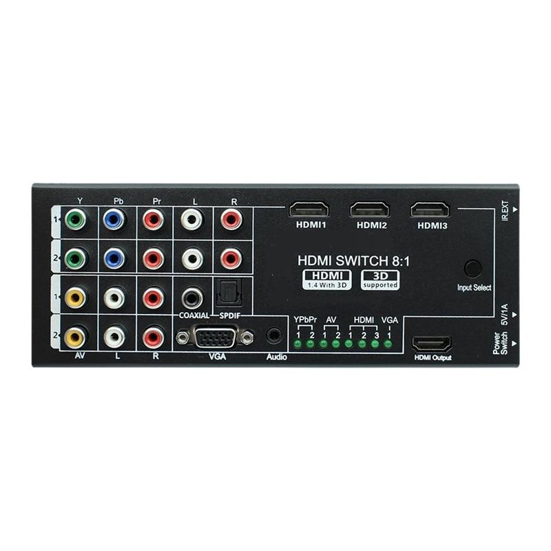 Digital Multi-Functional HDMI Converter AV YPbPr VGA HDMI 8 Port TO 1 HDMI Output 1080P Audio Video HDMI Switch Switcher(EU Plug