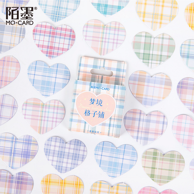 46 Pcs/set The Dream Land Grid Hearts Paper Sealing Stickers Scrapbooking DIY Bullet Journal Sticker Decorative Diary Stationery