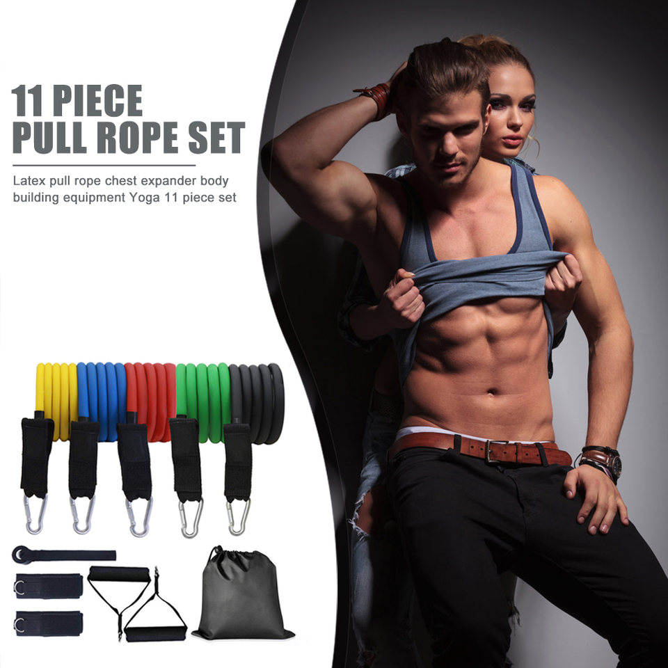 11pcs Set Resistance Band Tpe Elastic Pull Rope Gym Home Fitness Sports Workout Body Building Equipment Tool Resistance Bands Aliexpress