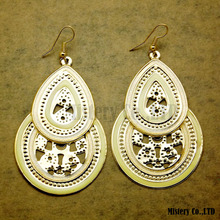 Lead Free Large Tear Drop Filigree Earrings For Women New Hollow Epoxy Enamel Jewellery