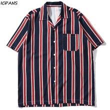 ICPANS Striped Front Pocket Vintage Shirts Men Retro Streetwear Hip Hop Mens 2019 Summer Beach