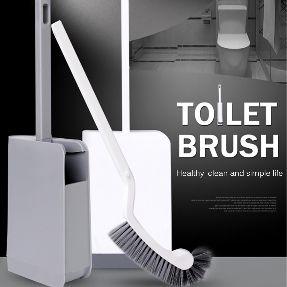 Cleaning Supplies Plastic Portable Toilet Brush Curved Accessories Arc-Shaped Corner Bathroom Long Handle Seamless Household
