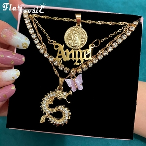 Flatfoosie Multilayer Crystal Dragon Butterfly Pendant Necklace Women Gold Color Coin Portrait Letter Choker Necklace Jewelry