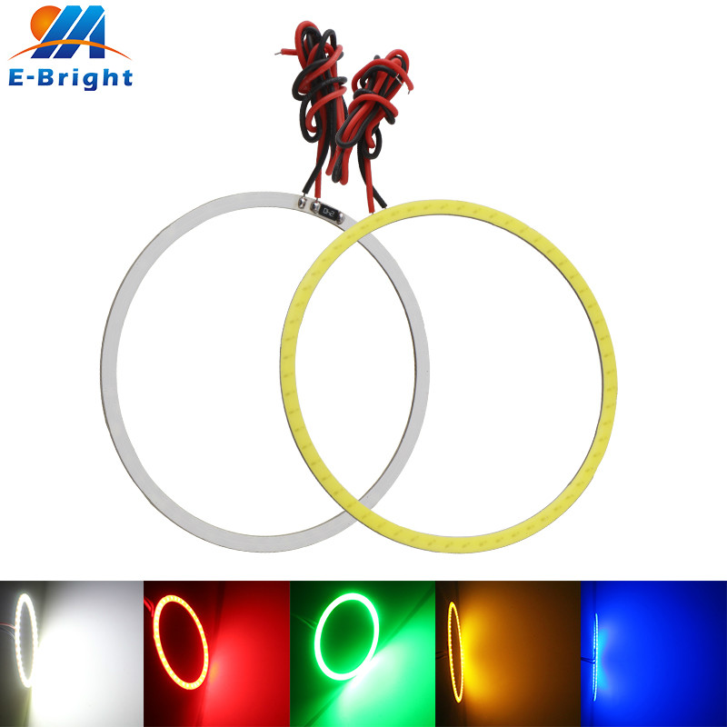 70mm 12V COB <font><b>60</b></font> SMD LED Car Halo Rings Daytime Running Light Waterproof LED Angel Eyes Car Headlight for Universal Car red 2X image