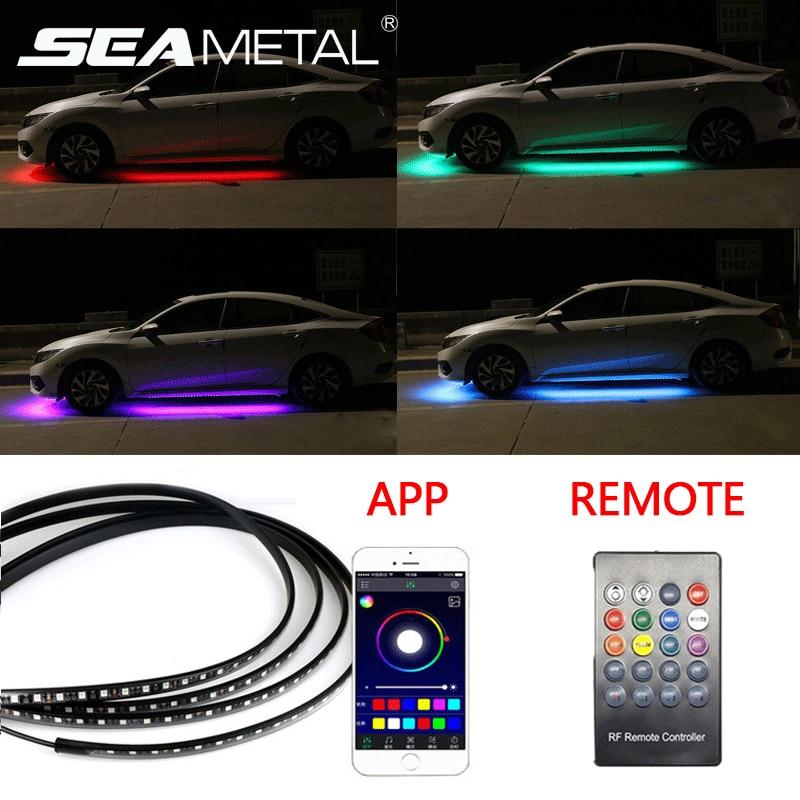 Car Underglow led strip Car Backlight Auto Atmosphere Lamp App/ Remote Control RGB Decorative Atmosphere Lamp Underbody Lights