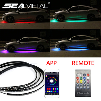 Car Underglow led strip Car Backlight Auto Atmosphere Lamp App/ Remote Control RGB Decorative Atmosphere Lamp Underbody Lights 4pcs hot rgb 12led car interior atmosphere neon light strip wireless remote control led lamp auto car decorative bulb