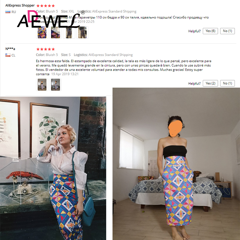 Image 5 - ADEWEL 2019 Plus Size Bluish African Print High Waist Bodycon Pencil Skirt Women Sexy Stripe Pencil Midi Long Skirts Female XXL-in Skirts from Women's Clothing