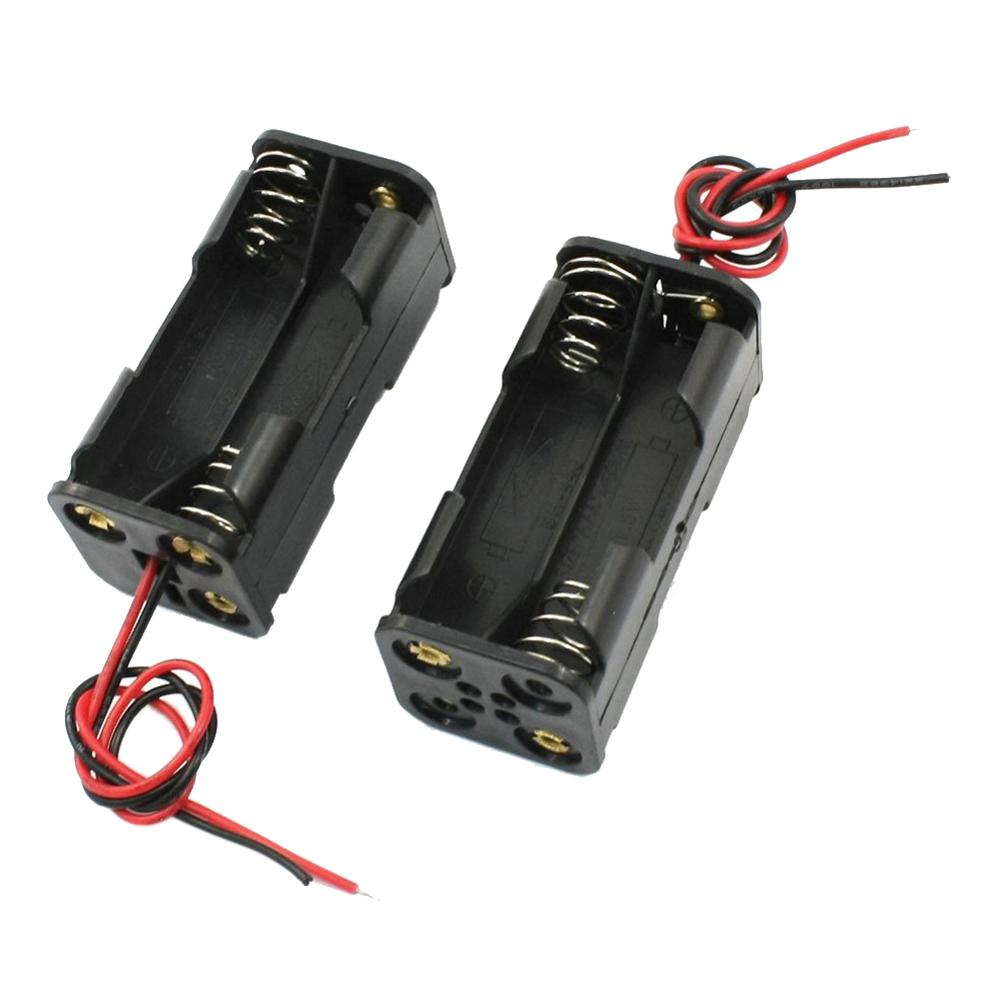20pcs lot MasterFire 20pcs/lot Black 2-Layers 4 x 1.5V AAA Battery Back To Back Holder Case Box Storage 2 Slots With Wire Leads (1)