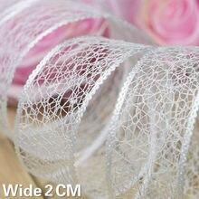 2cm de largura branco puro cetim oco bordado laço colar guarnição fita artesanal casamento headwear vestuário decoração diy material