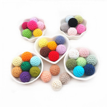 Cotton-Balls Crochet-Beads Sensory Jewelry Wooden Diy Baby Round 20mm Chenkai for Teething-Toy