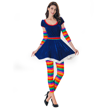 Clown Cosplay Fancy Dress up Women Clown Circus Costumes for Halloween Party Stage Performance Women Photography Prop Outfit halloween costumes clown dressed up acting cute nose red