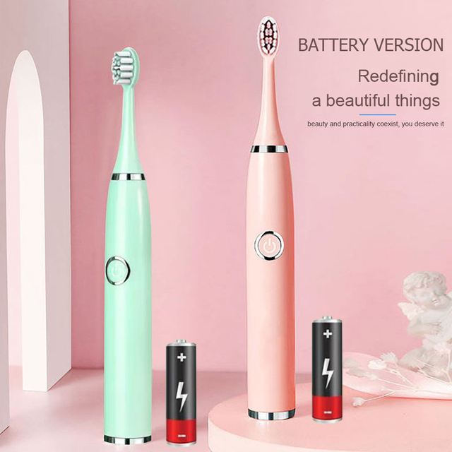 Super Sonic Electric Toothbrushes for Adults Kid Smart Timer Whitening Toothbrush IPX7 Waterproof Replaceable AA Battery Version 6