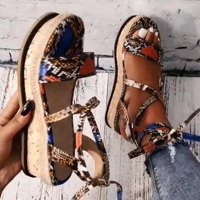 KAMUCC compensées talons mode 2020 gros lacets serpent imprimé été INS chaussures chaudes femmes sandales grande taille 35-43