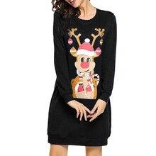 Women Christmas Print Monkey Character Long Sleeve Dress Ladies Mini Dress Ladies Casual Mini Dress robe noel femme#50