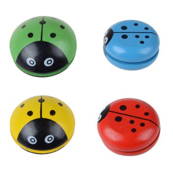 Biedronka piłka yo-yo niebieski zielony czerwony żółty biedronka YOYO kreatywne zabawki drewniane Yo Yo zabawki dla dzieci cztery kolory tanie i dobre opinie SONGYI CN (pochodzenie) Drewna Mini Unisex 3 lat random color wooden Yo Yo ball Other 5 5cm