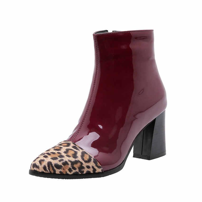 ESVEVA 2020 Sonbahar Kadın Ayakkabı Kış yarım çizmeler PU Patent Deri Kare Yüksek Topuk Motosiklet Platform Çizmeler Boyutu 34-43