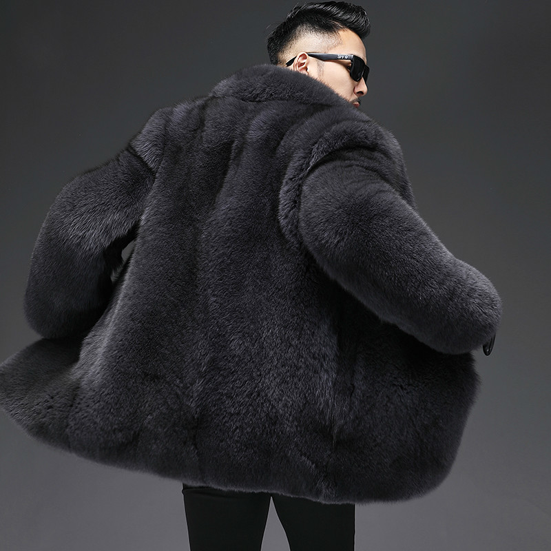 2020 Winter Real Fur Coat Men Natural Fox Fur Coat Warm Luxury Jacket Men Fashions Outerwear 19-3100 KJ3225
