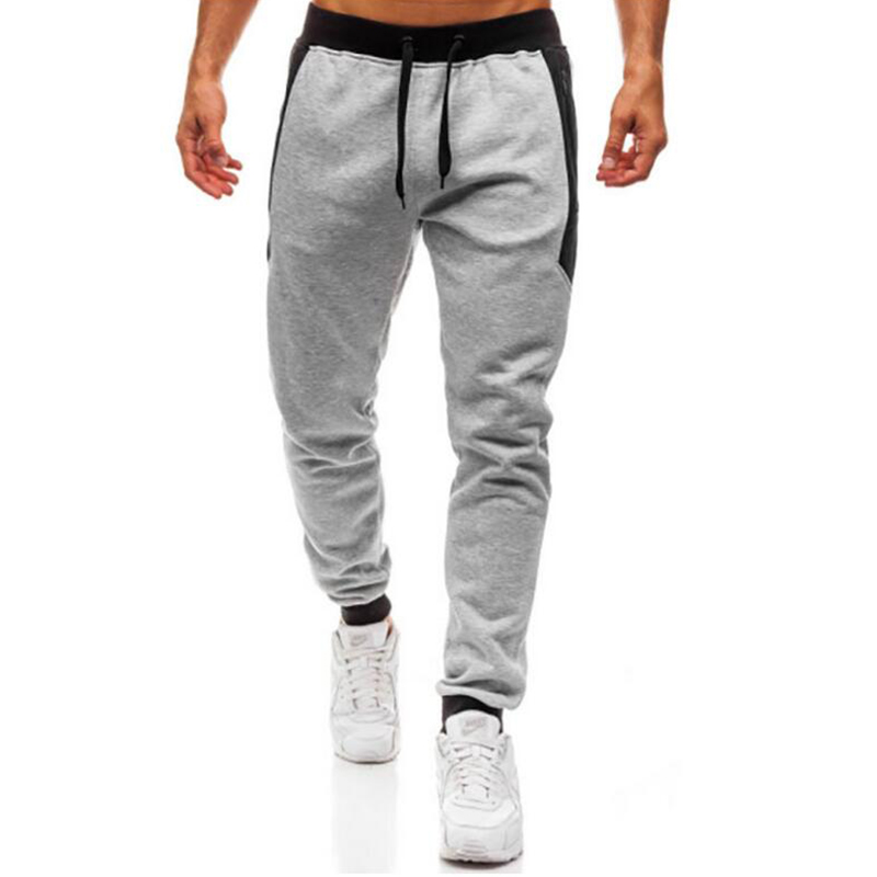 New brand patchwork zipper men pant trousers sports casual pants