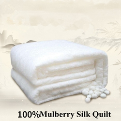 Summer Winter Silk Quilts Super Comfortable 100%Mulberry Silk Filled Comforter and Cotton Fabric Cover White/Pink/Yellow