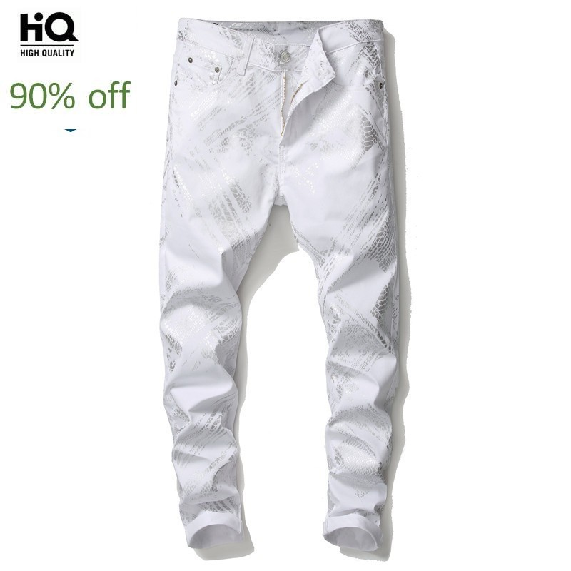 2020 New Fashion Jeans Pant Men White Printed Hip Hop Slim Fit Denim Pencil Pants Men Streetwear Harajuku Trousers Casual Jeans