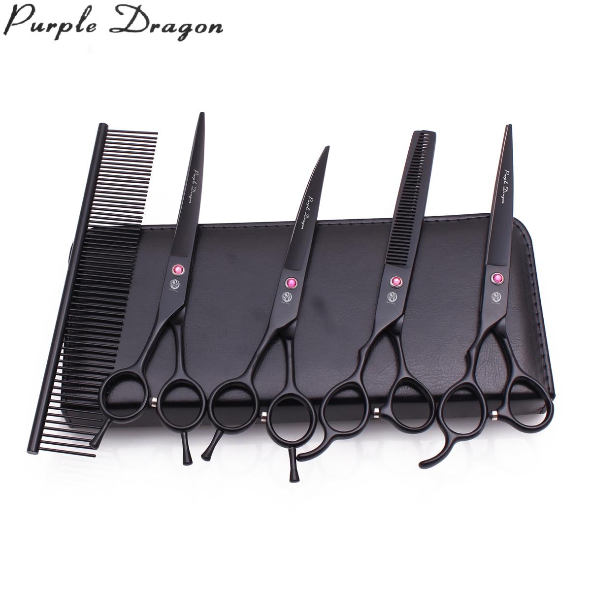 "Left Hand Purple Dragon 7"" Japanese Steel Professional Pet Scissors Set Animal Thinning Shears 3006# Dog Hair Scissors Set Black"