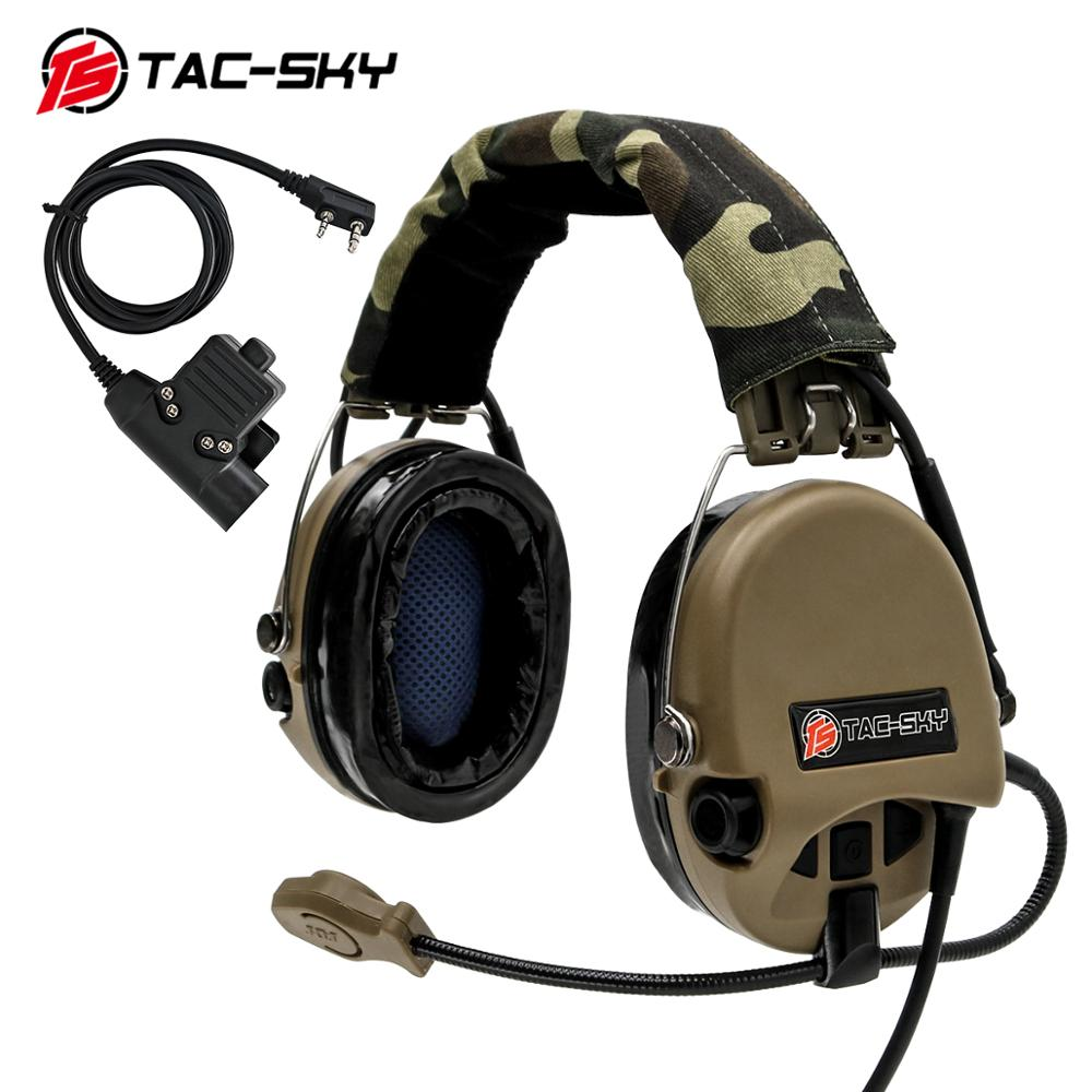 TAC-SKY Airsofte Sordin Silicone Earmuffs Noise Reduction Pickup Hunting Sports Headset Tactical Headset DE + U94 PTT