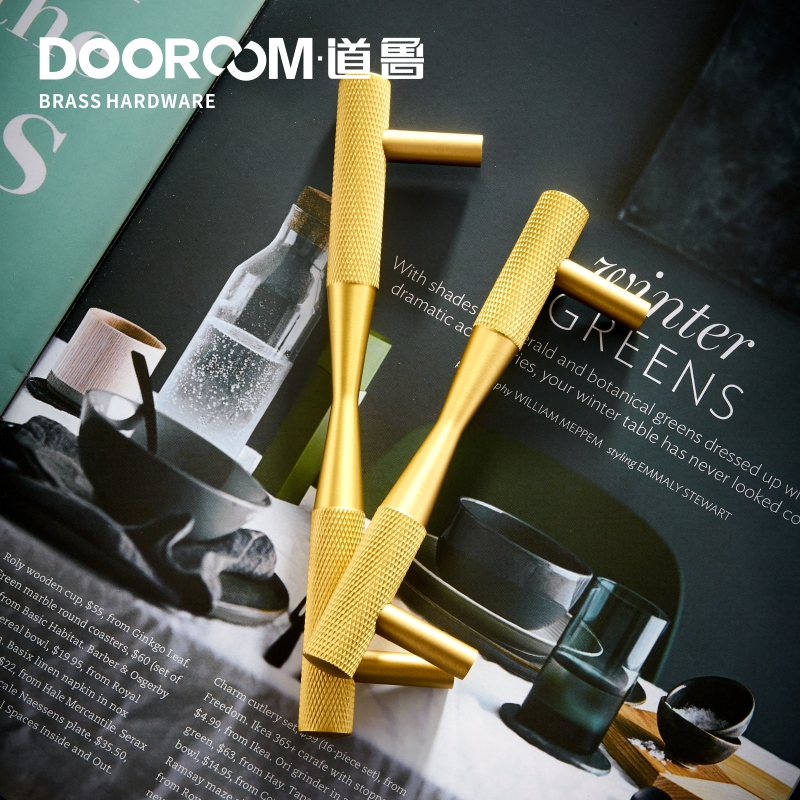 Image 5 - Dooroom Brass Furniture Handles Black Gold Exquisite Knurled Pulls Cupboard Wardrobe Dresser Shoe Box Drawer Cabinet KnobsCabinet Pulls   -