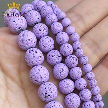 Pierre de lave volcanique violet clair, perles rondes en hématite pour la fabrication de bijoux, clous d'oreilles 15 ''4 6 8 10mm