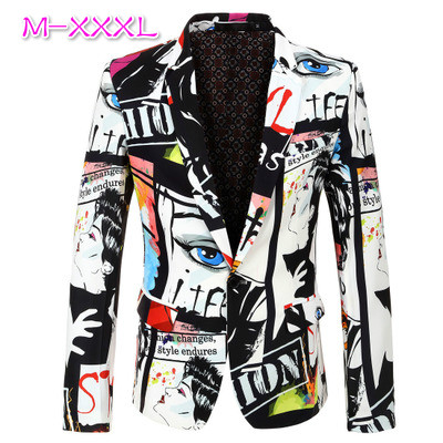 2020 New Tide Mens Fashion Print Blazer Design Plus Size Hip Hot Casual Male Slim Fit Suit Jacket Singer Costume