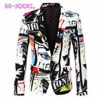 2020 New Tide Mens Fashion Print Blazer Design Plus Size Hip Hot Casual Male Slim Fit Suit Jacket Singer Costume