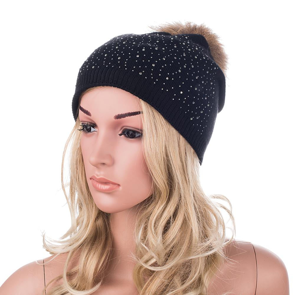 Women knitting Hat Mink Fur Winter Beanies Hat For Women Cashmere Fur Pom Pom Hat with Rhinestone Skullies A397