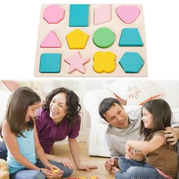 1Pc Children's wooden toys geometric shape color cognitive paired grasping board early education puzzle building simingyou wooden toys puzzle color toy for color exerciseand shape identification exercise drop shipping