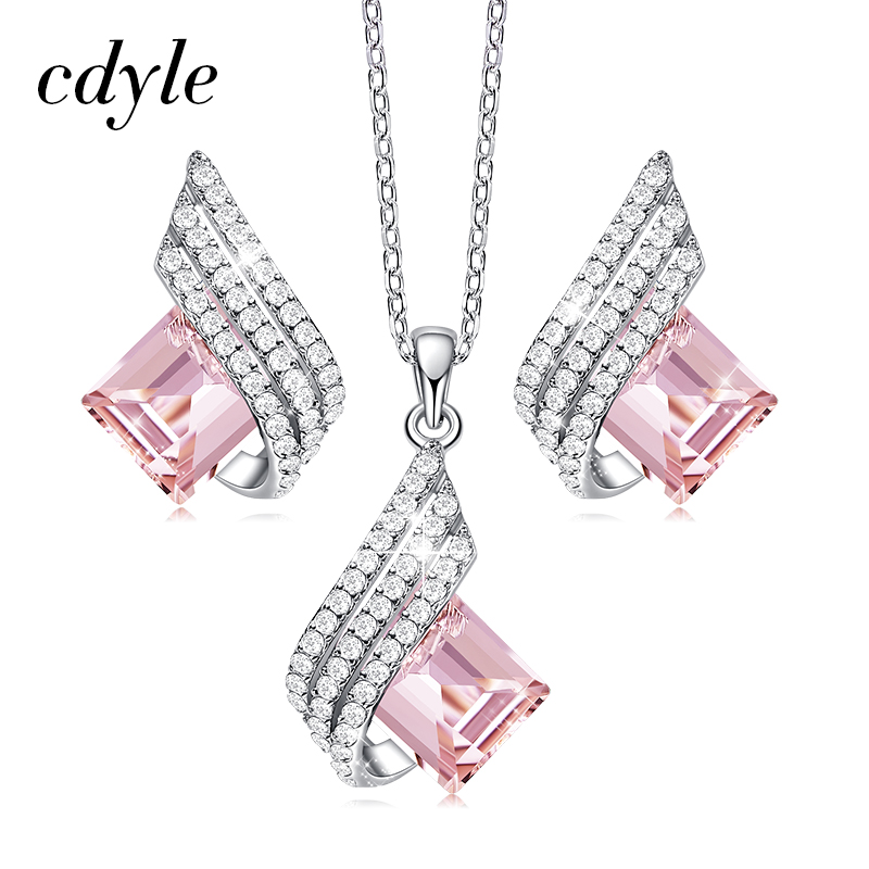 Cdyle Minimalist Dainty Pink Crystal Pendant Necklace Earrings Set Wedding Bridal Jewelry Sets Silver 925