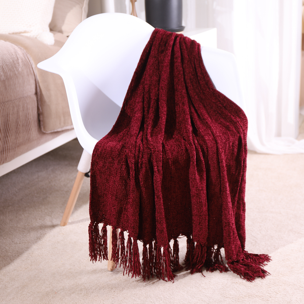 Battilo Fluffy Cozy Chenille Throw Blanket With Decorative Fringe For Couch Sofa Chair Bed Office Home Décor, 130*170cm