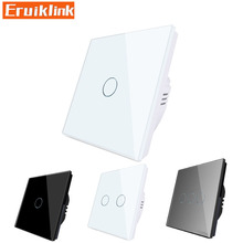 EU/UK Standard Wall Touch Switch,1/2/3 Gang 1 Way Crystal Glass Single Fireline Control Light Switch Cant be remote controlled