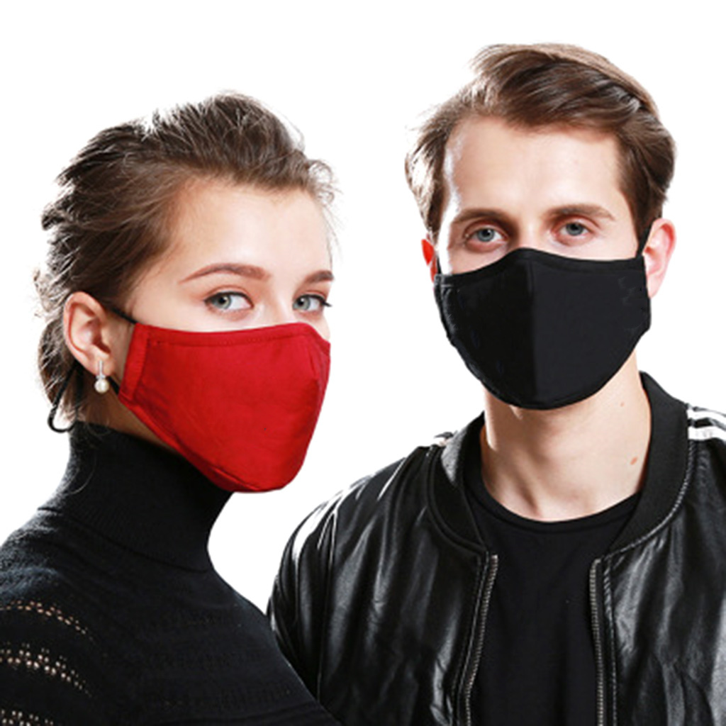 Unisex Women Men Reusable Cotton Fabric Face Mask Solid Color Washable Handmade Cotton Mask